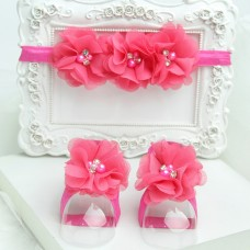 "Σετ ""Hot Pink flowers-headband"""