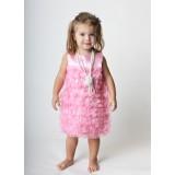 Φόρεμα pink satin ruffle dress Rufflebutts