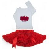 Σετ κόκκινη extra φουντωτή Pettiskirt & τοπ κόκκινο cupcake
