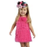 Φόρεμα hot pink chiffon ruffle dress