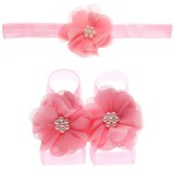 "Σετ ""Deep Pink flowers-headband"""