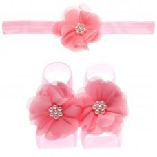 """Σετ """"Deep Pink flowers-headband"""""""