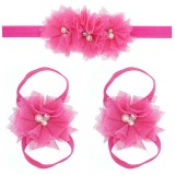 "Σετ ""Hot Pink tulle flowers-headband"""