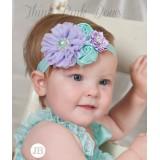 """Κορδέλα """"Lavender-Aqua flowers"""""""