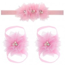 "Σετ ""Pink tulle flowers-headband"""