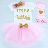 """Σετ tutu φούστα, φορμάκι, κορδέλα & γκέτες """"It's my fisrt Birthday"""""""
