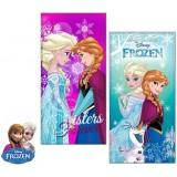 """Πετσέτα θαλάσσης """"Frozen Elsa & Anna""""-τυρκουάζ"""