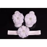 """Σανδάλια & Κορδέλα """"White strass flower"""""""