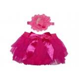 """Κάλυμμα πάνας & Κορδέλα """"Hot Pink flower"""""""