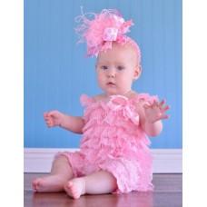 Lace romper pink