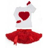 Σετ κόκκινη extra φουντωτή Pettiskirt & τοπ κόκκινη ruffle καρδούλα